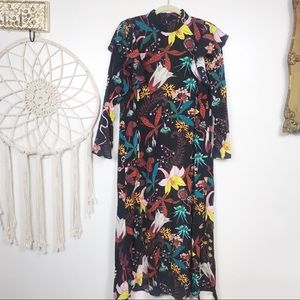 H&M Tropical Floral Ruffle Midi Dress